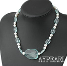 Beautiful White Freshwater Pearl And Aquamarine Blue Quartz Necklace With Toggle Clasp