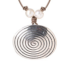 Newly Fashion Simple Style Round Tibet Silver Pendant Necklace with White Pearl and Leather