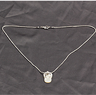 Classic Design Cute White Shell Slipper Shape Pendant Necklace with Metal Chain