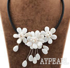 White Pearl Shell Flower Necklace with Black Cord