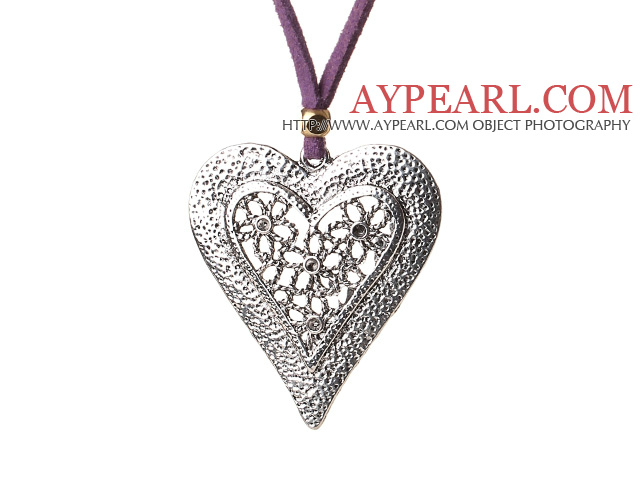 Newly Amazing Long Style Tibet Silver Heart Shape Pendant Necklace with Soft Leather