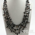 Wholesale three strand smoky quartze and obsidian necklace