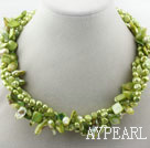 Assorterte Multi Strands ensfargede Sitron Grønn tenner Shape Pearl and Green Shell Twisted halskjede