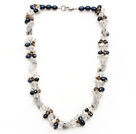 Wholesale pearl and black rutilated quartz necklace