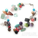 multi strand pearl crystal and multi color gem necklace
