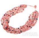 multi strand pearl and cherry quartze necklace