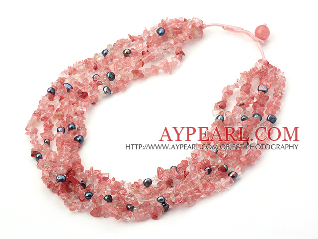 multi strand pearl and cherry quartze necklace