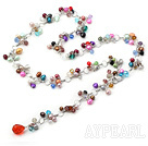 Popular Multi Function Multi Color Pearl And Crystal Loop Charm Necklace, Y Shape Pendant Necklace