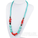 Wholesale coral and turquoise necklace with moonlight clasp