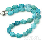 Nice Chunky Irregular Shape Blue Jasper Necklace With Moonlight Clasp