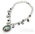 Wholesale unakite and abalone shell   necklace