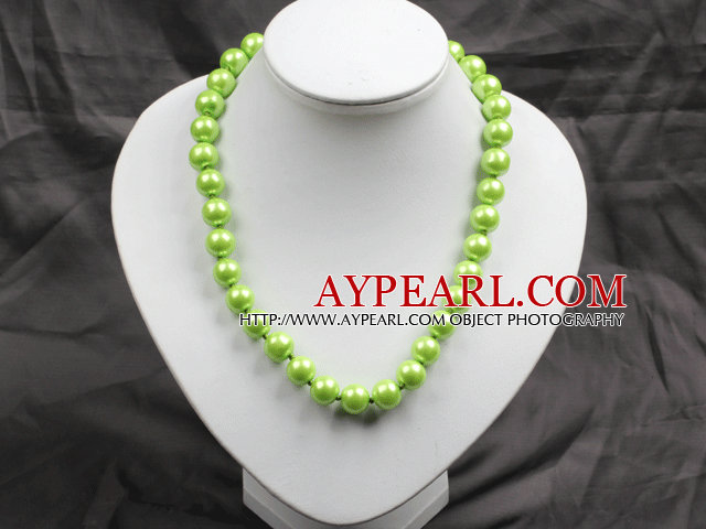 12mm Yellow Green Color Round Glass Pearl Beads Choker Necklace Jewelry