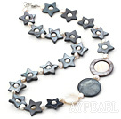 Lovely Hollow Star Black Shell And White Freshwater Pearl Strand Necklace