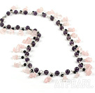 Fashion Long Style Round Amethyst And Rose Quartz Chips Loop Chain Strand Necklace, Sweater Necklace