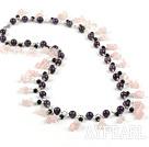 Wholesale amethyst and rose quartze necklace