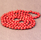 Noble Long Style Natural Birght Red Imperial Jasper Stone Beads Necklace