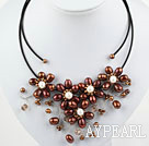 Brown Series Brown Ferskvann Pearl partiet Necklace