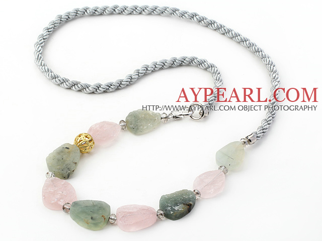Assorted Scrub Rose Quartz and Green Rutilated Quartz Necklace with Gray Cord