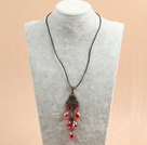 Simple Retro Style Tear Drop Shape Red Crystal Pendant Necklace With Black Leather