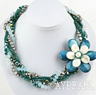 Multi Strands Peacock Color Pearl Crystal and Shell Flower Party Necklace