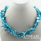 Assorted Multi Strands Dyed Blue Teeth Shape Pearl and Blue Shell Twisted Necklace