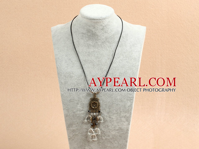 biwa pearl and srystal necklace