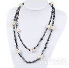 hot black and white pearl necklace