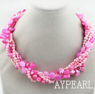 Wholesale Assorted Multi Strands Dyed Pink Teeth Shape Pearl and Pink Shell Twisted Necklace