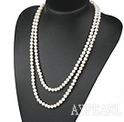 Wholesale fashion long style 47.2 inches 7-8mm white pearl necklace