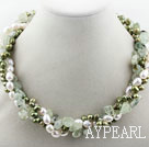Wholesale Assorted Multi Strands White and Green Freshwater Pearl and Green Rutilated Quartz Twisted Necklace