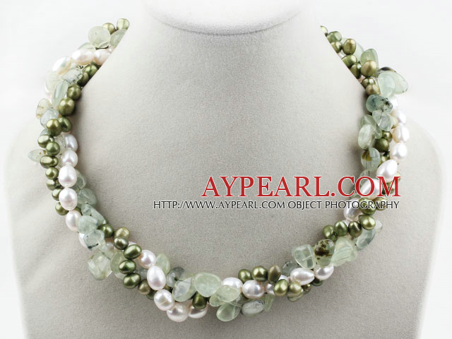 Assorted Multi Strands White and Green Freshwater Pearl and Green Rutilated Quartz Twisted Necklace