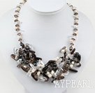black and white crystal smoky quartze necklace