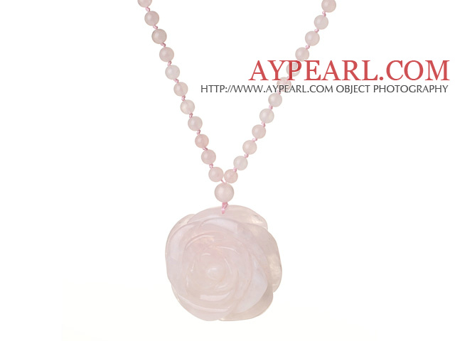 Beautiful Summer Long Style Round Rose Quartz Beaded Necklace with Flower Shape Rose Quarz Pendant