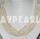 Wholesale multi strand white pearl necklace with moonlight clasp