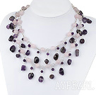 trendy pink crystal and amethyst necklace