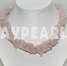 fashion multi strand rose quartze necklace 