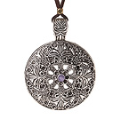 Vintage Long Simple Style Flower Shape Tibet Silver Pendant Necklace with Soft Brown Leather