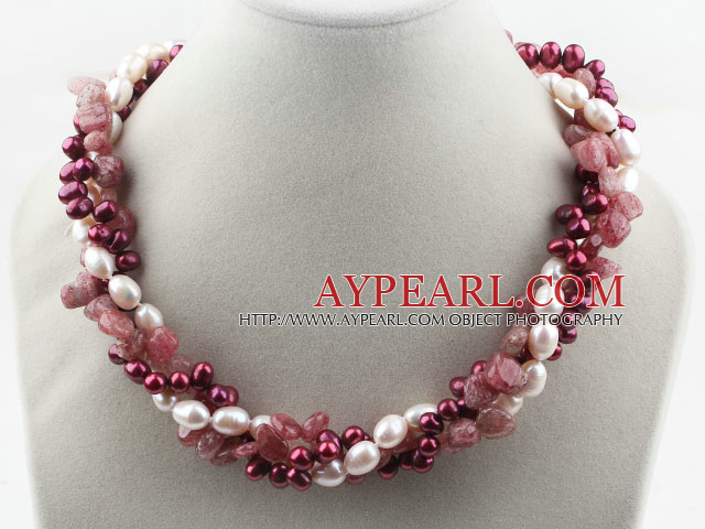 Assorted Multi Strands White and Purple Red Freshwater Pearl and Strawberry Quartz Twisted Necklace