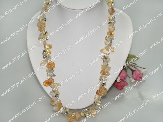 Nice Yellow Series Freshwater Pearl And Citrine Chips Stone Necklace With Lobster Clasp