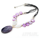 Nice White Freshwater Pearl Purple Drop Shape Shell And Purple Agate Pendant Necklace