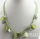 17.7 inches green colored glaze necklace with extendable chain
