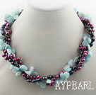 Multi Strands Dyed Freshwater Pearl and Amazon Stone Twisted Necklace