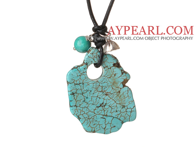 Trendy Simple Design Green Turquoise Pendant Necklace with 925 Sterling Silver Lotus Seedpod