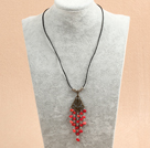 Simple Retro Style Chandelier Shape Red Coral Beads Tassel Pendant Necklace With Black Leather