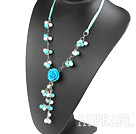 blue and white turquose necklace with flower