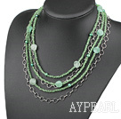 Multi Strands Green Pearl Crystal and Aventurine Necklace
