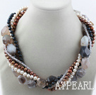 Wholesale multi strand pearl and agate necklace
