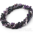 Wholesale multi strand black pearl and natural amethyst necklace