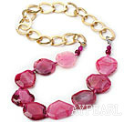 Wholesale Hot Pink Color Burst Pattern Crystallized Agate Knotted Necklace with Golden Color Metal Chain ( The Chain Can Be Deducted )