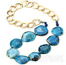 Wholesale Blue Color Burst Pattern Crystallized Agate Knotted Necklace with Golden Color Metal Chain ( The Chain Can Be Deducted )
